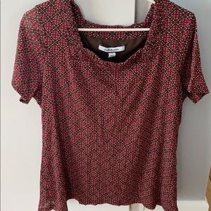 Brown and burgundy blouse